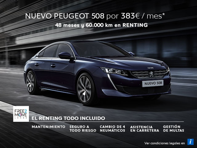 Mainbanner Nuevo Peugeot 508 - Renting Free2Move Septiembre Móvil