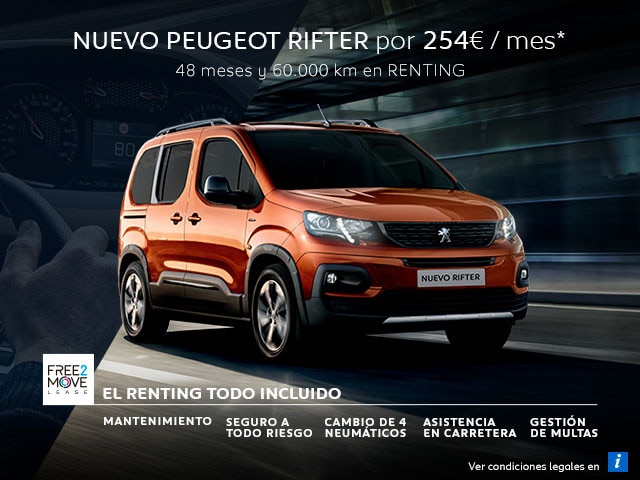 Nuevo Peugeot Rifter Renting Free2Move Julio móvil