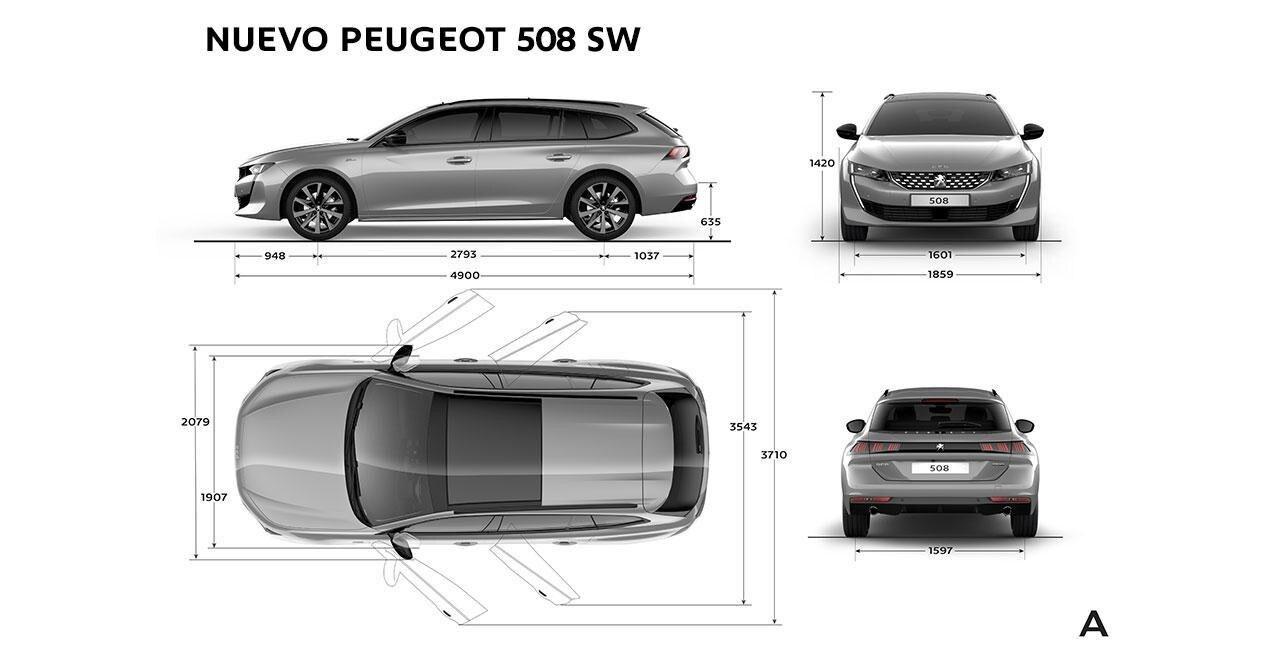 Información técnica del Nuevo Peugeot 508 SW - Dimensiones