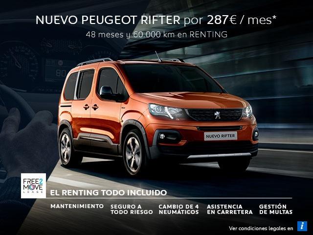 Nuevo Peugeot Rifter Renting Free2Move Móvil