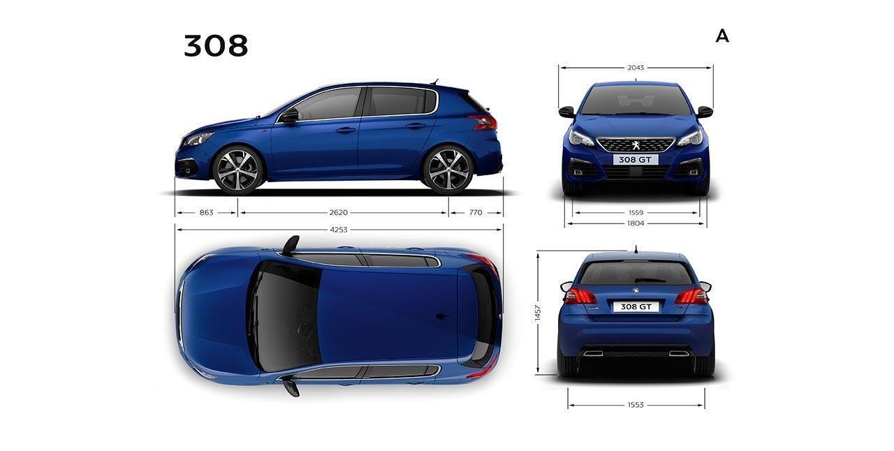Peugeot 308 5 Puertas - Dimensiones exteriores