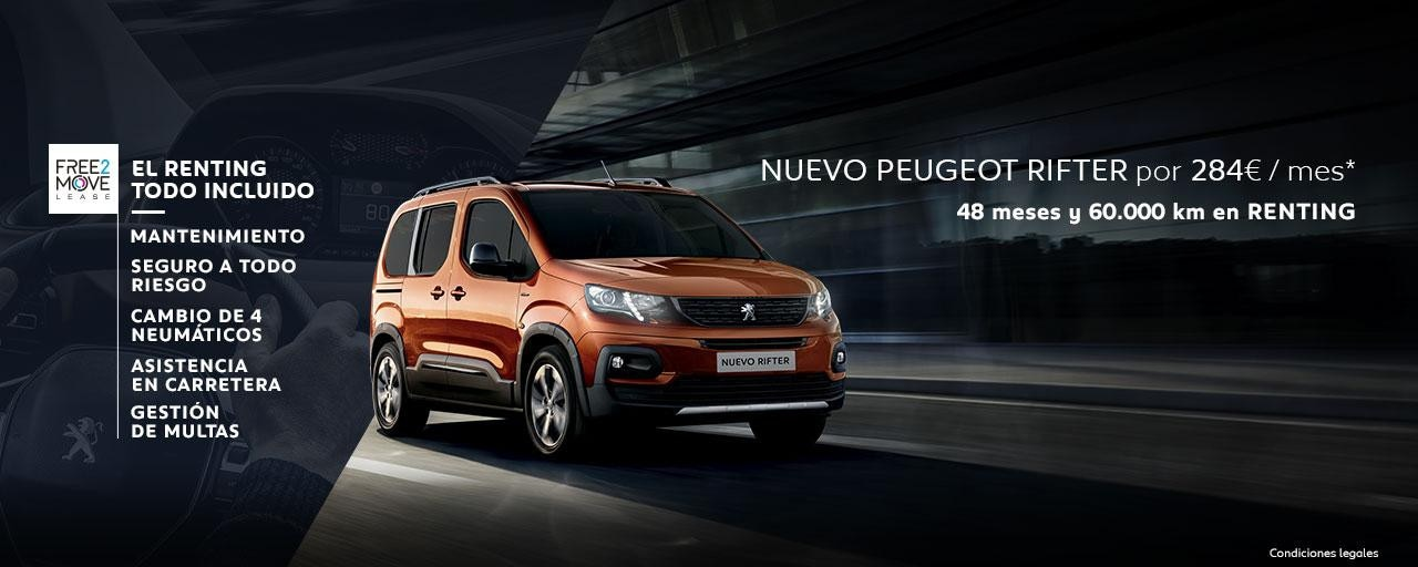 Nuevo Peugeot Rifter Renting Free2Move Mayo