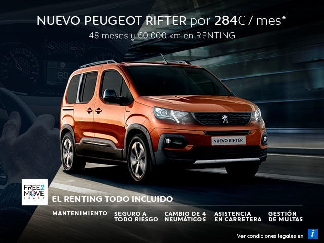 Nuevo Peugeot Rifter Renting Free2Move Mayo Móvil