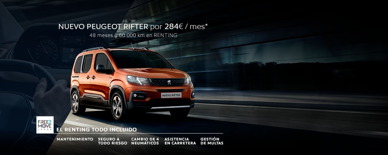 Nuevo Peugeot Rifter Renting Free2Move Showroom Mayo